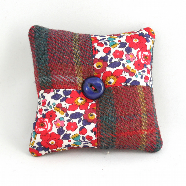 Tweed and Liberty pincushion