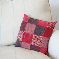 Patchwork tweed and Liberty cushion