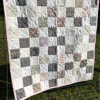 Beautiful grey & white handmade patchwork baby quilt playmat