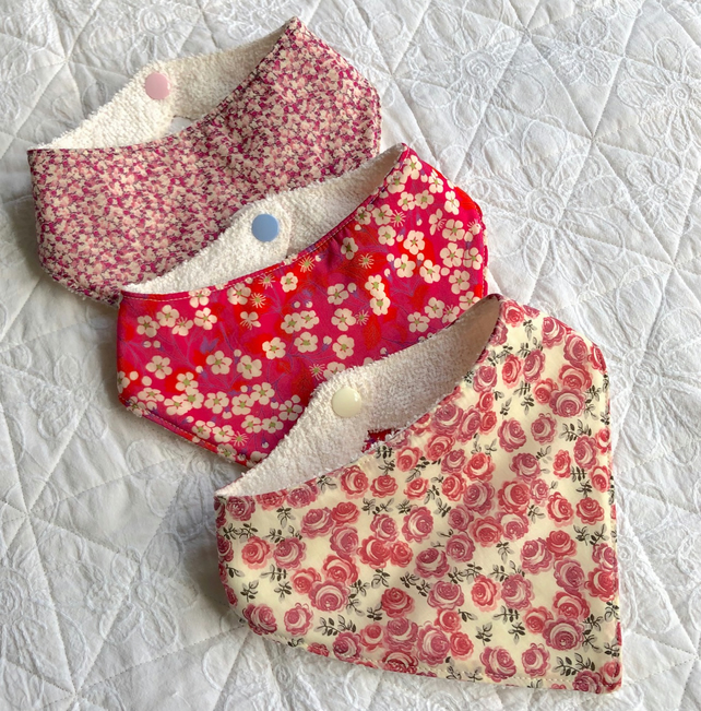 Baby bandana style Liberty fabric dribble bibs, newborn size, pack of 3