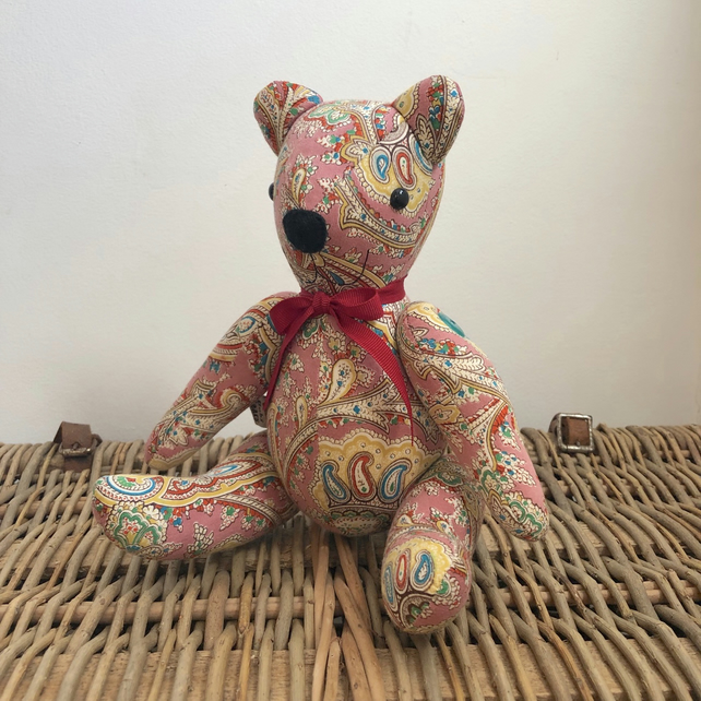 Collectable one-of-a-kind handmade vintage paisley fabric teddy bear