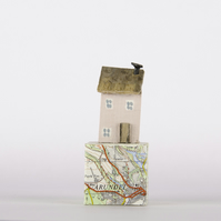 Handmade tiny Pink Cottage ARUNDEL on old map block