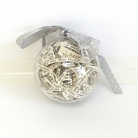 Large Bauble filled with lines from Jane Austen Books - Sense & Sensibility