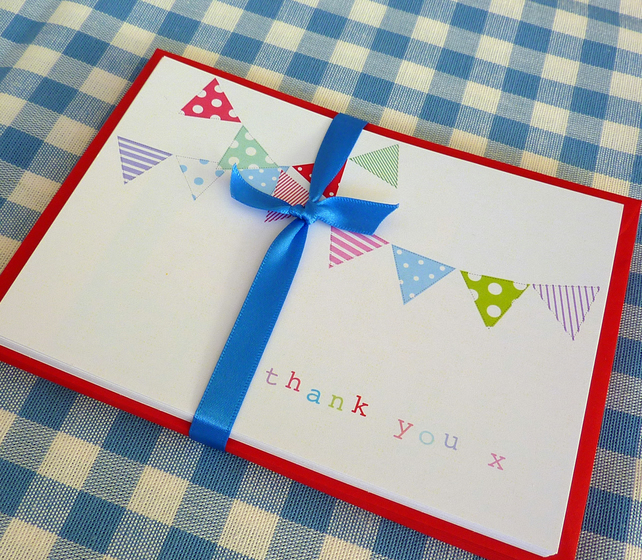 Bright Bunting Thank You Cards - pack of 10