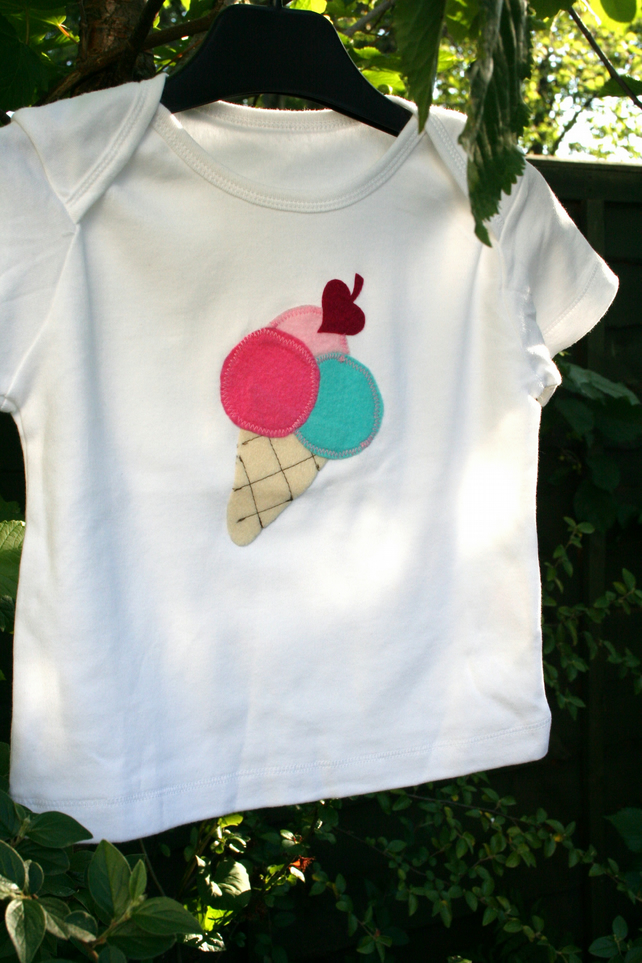 Children's cute ice cream sundae applique t shirt, 100% cotton