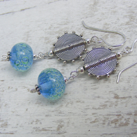 Blue and Green lampwork and bali silver glass earrings
