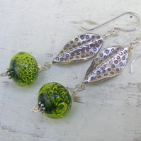 Lime green bubble lampwork and Karen Hill Tribe silver leaf beaded earrings