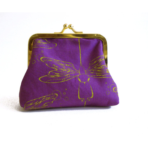 Dragonfly purse purple, handprinted