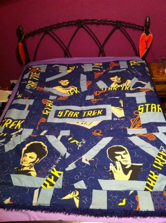 Handmade patchwork star trek quilt fleece