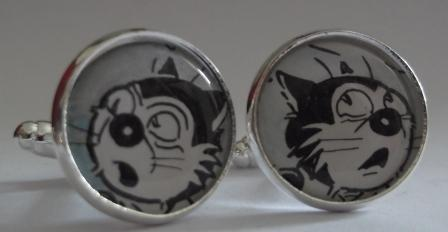 Original Vintage 1978 The Dandy Comic Korky the Cat Silver Plated Cuff links