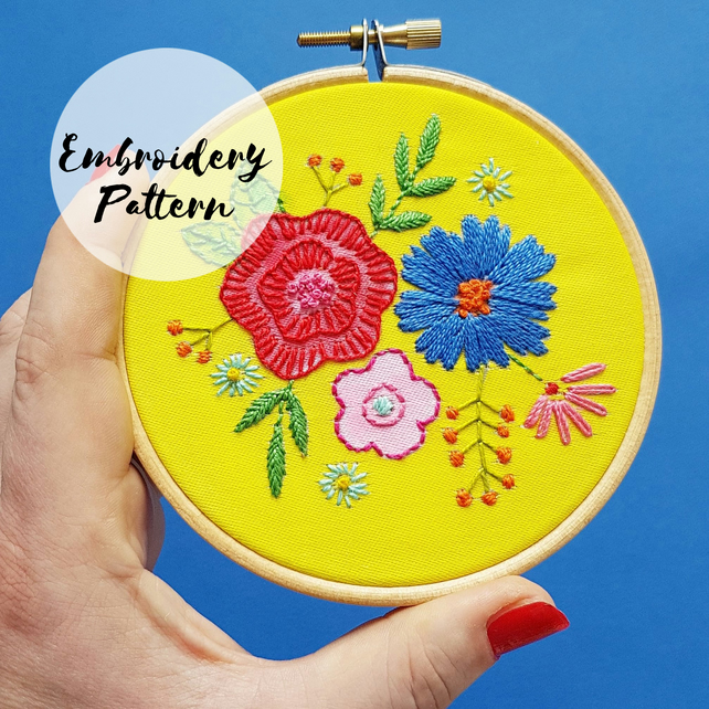 Floral Posy Yellow Embroidery Pattern