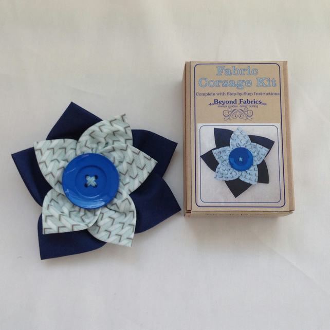 NAVY BLUE CORSAGE  KITS   by Beyond Fbrics