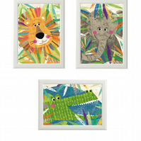 Set of 3 Jungle Buddy Illustrations size 5 x 7