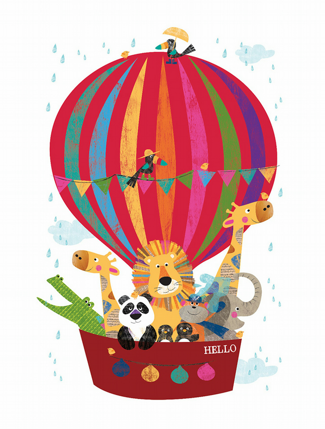 A4 Hello Balloon Jungle Buddies - Can be personalised