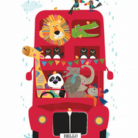A4 Hello Bus Jungle Buddies - Can be personalised