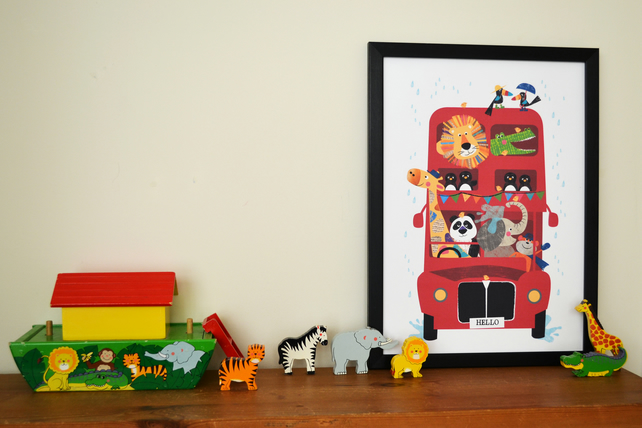 Framed A3 Hello Bus Jungle Buddies - Can be personalised