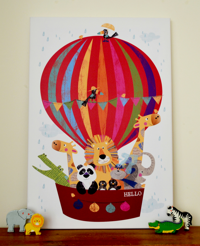 Canvas Print - Hello Balloon Jungle Buddies - 60 x 40 cm