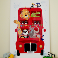 Canvas Print - Hello Bus Jungle Buddies - 60 x40