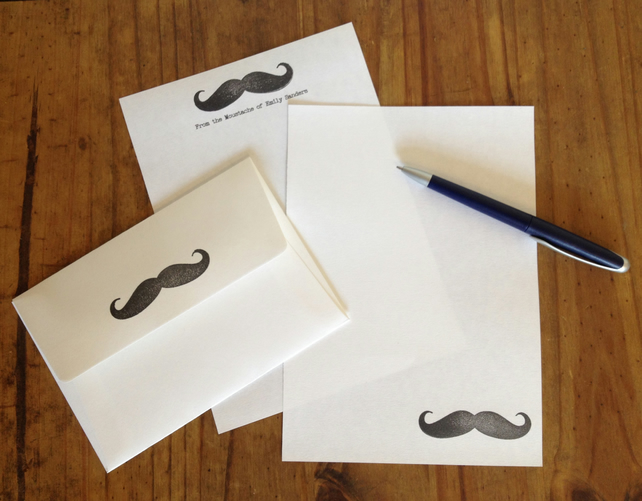 Personalised Moustache Writing Set, Paper and Envelopes