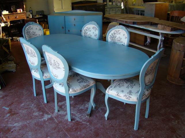 shabby chic french style vintage dining table 6 toile de jouy chairs now sold - Shabby Chic Dining Table And Chairs