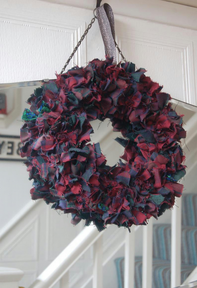 Tartan Style Fabric Rag Wreath - Approximately 34 cm's