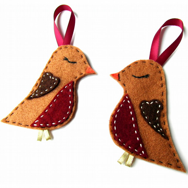Red Robin Christmas Tree Decorations : Felt sleeping robin christmas decorations folksy