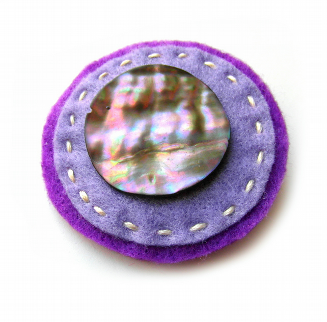 Round Button Brooch or Bag Charm - Felt - Purple and Metallic - Circle