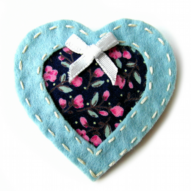 Cut Out Heart Brooch or Bag Charm - Felt - Blue Floral - Mothers Day