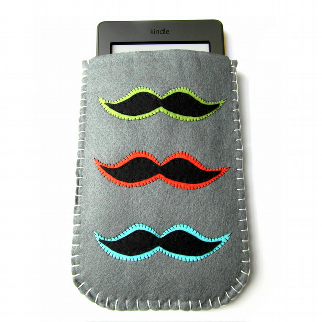 Moustache Felt Kindle Case - Touch