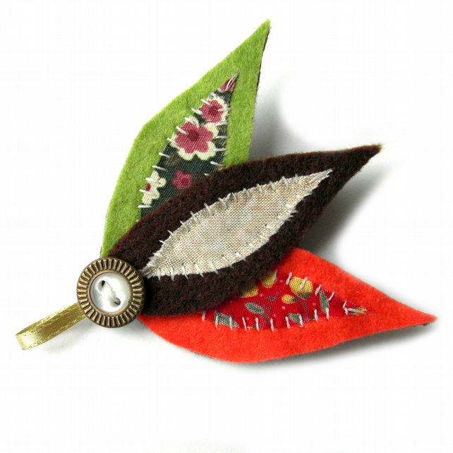 Autumn Leaves Brooch - Felt Leaf