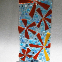 Fused glass flowers Worry Poppet