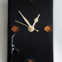 Reduced - nearly 20% off - Black fused glass wall clock