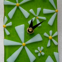 Fused glass spring flowers clock