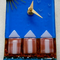 Fused glass Beach huts wall clock