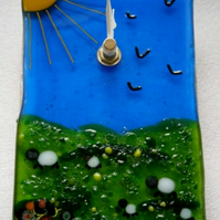 Sheepy fused glass wall clock