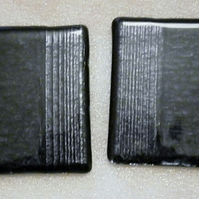 Silver and black fused glass coasters