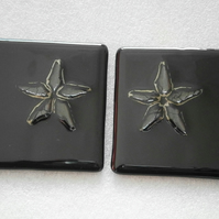 Black fused glass coasters with gold star