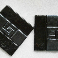 Black and silver fused glass coasters