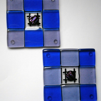 Fused glass coasters in blue and pale lilac