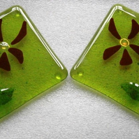 Pair of pretty green fused glass coasters