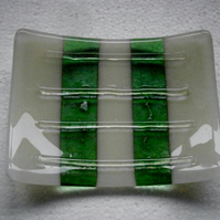 Fused glass soap dish in green and cream