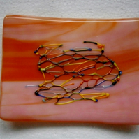 Orange marble fused glass soap dish