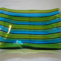 Turquoise and green pin stripe soap dish