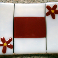 White fused glass soap dish with red flower decoration
