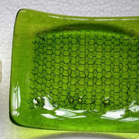 Fused glass spring green soap dish