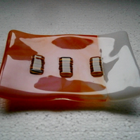 Orange and white fused glass soap dish