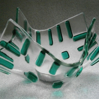 Fused glass candle or tea light holder in teal