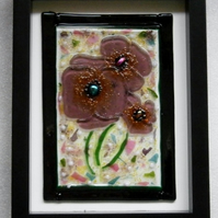 Fused glass picture of pansies