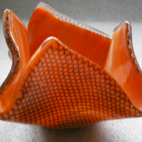 Orange marble fused glass candle holder