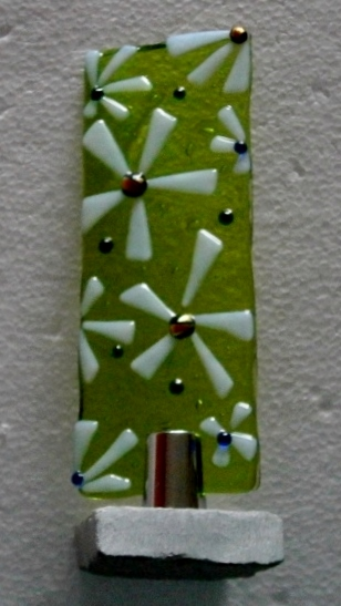 White flowers fused glass Worry Poppet